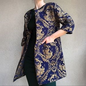 Unique, Brocade gold & navy, blazer/coat, size M